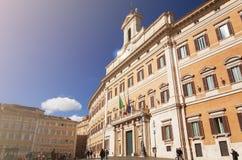 Montecitorio宫殿的门面在罗马 免版税图库摄影