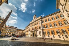 Montecitorio广场 意大利议会 库存图片