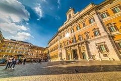 Montecitorio fyrkant i Rome Arkivfoton