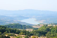 Montedoglio sjö, Arezzo, Italien arkivbilder