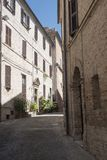 Montefano Macerata, Marches, Italy, historic town. Montefano Macerata, Marches, Italy, old buildings in the historic town Royalty Free Stock Photography