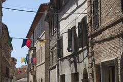 Montefano Macerata, Marches, Italy, historic town. Montefano Macerata, Marches, Italy, old buildings in the historic town Stock Image