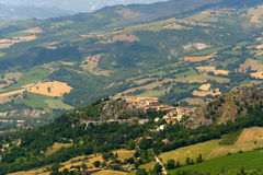 Montefeltro (Marches, Italy), landscape. Montefeltro (Marche, Italy), landscape at summer: old village royalty free stock image