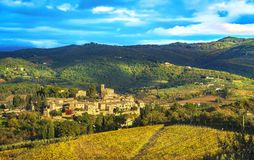 Montefioralle village and vineyards, Greve in Chianti Firenze Tuscany, Italy stock photos
