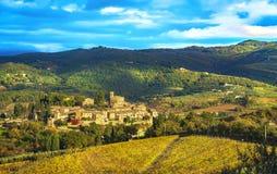 Montefioralledorp en wijngaarden, Greve in Chiantiflorence Toscanië, Italië stock foto's