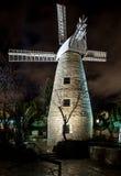 Montefiore wiatraczek przy nocą, Jerozolima Zdjęcia Stock
