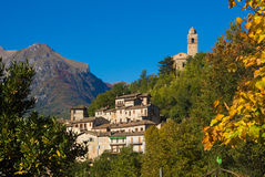 Montefortino medieval village in the Sibillini mountains. Royalty Free Stock Photo