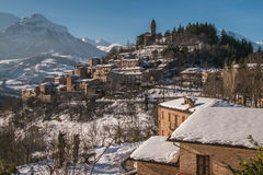 Montefortino Medieval Village With Snow Stock Photo