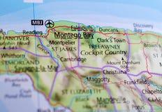 Montego Bay на карте Стоковое Фото