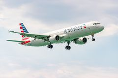 American Airlines aircraft preparing to land. Montego Bay, Jamaica - February 19 2017: American Airlines aircraft preparing to land at the Sangster International royalty free stock photography
