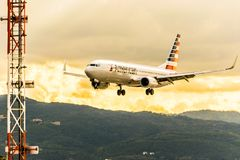 Montego Bay, Jamaica - January 21 2017: American Airlines aircraft landing at Sangster International Airport MBJ. American Airlines aircraft with wheels down stock photo
