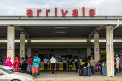 Passengers at Arrivals in the Sangster International Airport in Montego Bay, Jamaica royalty free stock photography