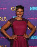 Montego Glover. Tony-Award Broadway musical star Montego Glover arrives on the red carpet for the New York premiere of the third season of the hit HBO cable royalty free stock photography