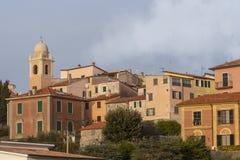 Montemarcello view, Liguria, Italy. In the Val di Magra, La Spezia province. Pictureque village. Photo Jan 2019. Montemarcello view, Liguria, Italy. In the area stock images