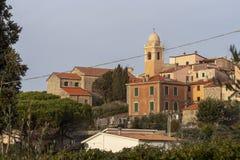 Montemarcello view, Liguria, Italy. In the Val di Magra, La Spezia province. Pictureque village. Photo Jan 2019. Montemarcello view, Liguria, Italy. In the area royalty free stock image