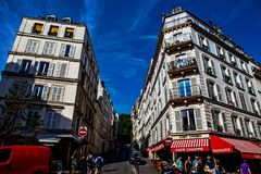 Montematre area in Paris. Montmartre area near the Sacre Coeur basilica in Paris, France Royalty Free Stock Photos