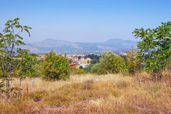 Montenegrian landscape. View from Dajbabe hill. Montenegro. Montenegrian landscape. View from Dajbabe hill to Zeta Plain near Podgorica city, Montenegro Royalty Free Stock Photo