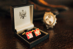 Montenegrin flag on the cuff links. For the shirt royalty free stock image