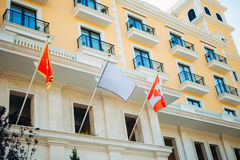 The Montenegrin flag flutters in the wind Stock Photo