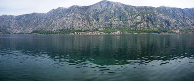 Montenegrin panorama. The sea and the mountains in the Boka Bay (Montenegro Royalty Free Stock Images