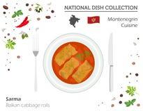 Montenegrinsk kokkonst Europeisk nationell maträttsamling Balkan c royaltyfri illustrationer