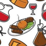 Montenegrinsk mat och att dricka nationell kokkonst för sömlös modell royaltyfri illustrationer