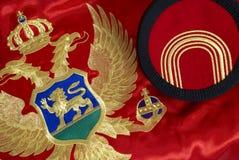 Montenegrische Markierungsfahne und Schutzkappe Lizenzfreie Stockfotos