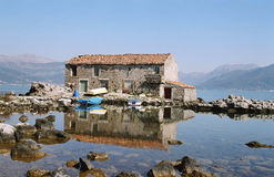 Montenegro. Traditional house sea stone Royalty Free Stock Image