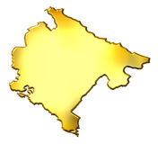 Montenegro 3d Golden Map. Isolated in white Stock Image