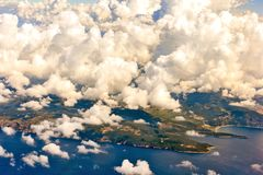Montenegro from the airplane porthole stock images