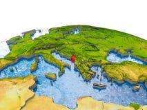 Montenegro auf Modell von Erde Stockfotografie