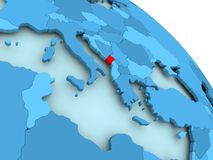 Montenegro on blue globe. Montenegro highlighted on blue 3D model of political globe. 3D illustration Stock Image