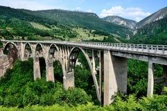 Montenegro bro över den Tara floden Royaltyfri Bild