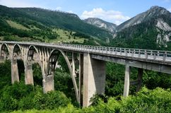 Montenegro bro över den Tara floden Royaltyfria Foton