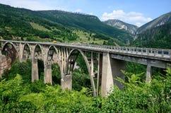 Montenegro bro över den Tara floden Arkivfoto