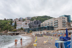 Montenegro, Budva beach, Jun 2014 Royalty Free Stock Photos