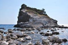 Montenegro Budva island beach. Montenegro, Budva - a short boat ride to a new beach Royalty Free Stock Photography