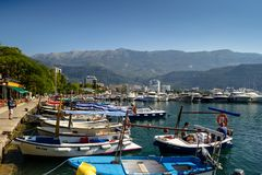 Montenegro Budva. July 21, 2018. Embankment and port on a sunny royalty free stock photo