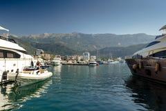 Montenegro Budva. July 21, 2018. Embankment and port on a sunny day stock photos
