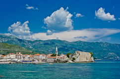 Montenegro, Budva, old town view. Adriatic sea beach Royalty Free Stock Images