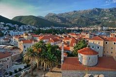 Montenegro Budva Zonsondergangmening Royalty-vrije Stock Foto