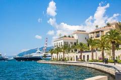 Montenegro Bulwar Tivat miasto Widok Porto Montenegro wioska Montenegro zdjęcia stock