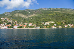 Montenegro. City on the banks of the Bay of Kotor Stock Photos
