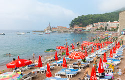 Montenegro: City beach in Petrovac royalty free stock image
