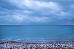 Montenegro coast of the Adriatic sea before the storm at the sun Stock Photos