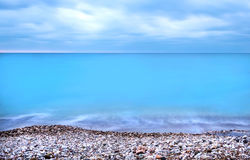 Montenegro coast of the Adriatic sea before the storm at the sun Royalty Free Stock Photo