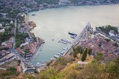 montenegro Compartiment de Kotor Vue de la forteresse sur la montagne image stock