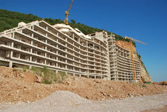 Montenegro. Construction of hotel. Construction of modern hotel on the bank of the Adriatic Sea near the city of Petrovats Royalty Free Stock Photography