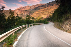 Montenegro, curved  mountain highway Royalty Free Stock Images