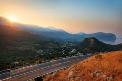Montenegro de Zonsopgang van het Kustdorp royalty-vrije stock foto